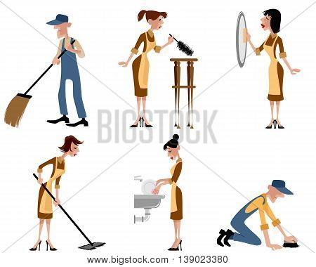 Vector illustration of a domestic staff set