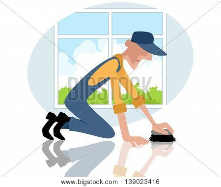 Vector illustration of a man rubbing the floor