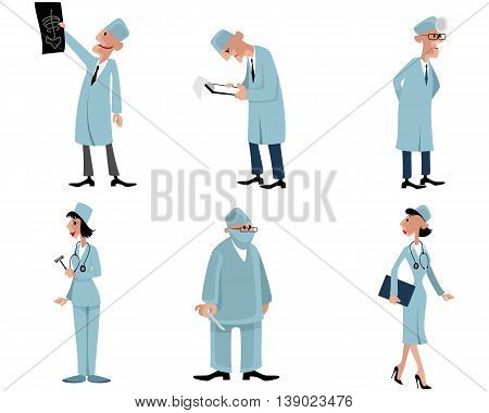 Vector illustration of a six doctors set