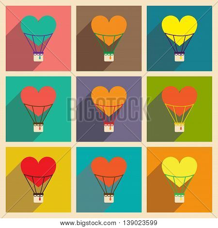 Set of flat web icons with long shadow air balloon heart