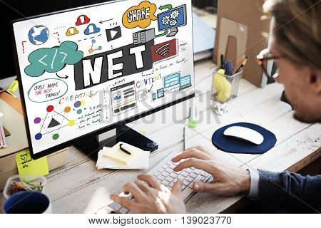 Net Accounting Finance Domain Content Drawing Concept