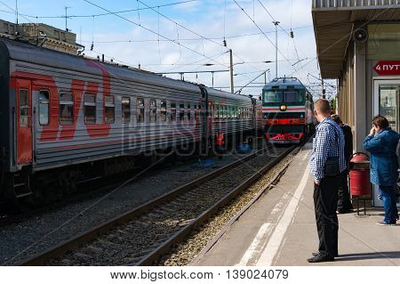 Volgograd Russia - Sep 12 2013: Volgograd central railway station train arrival. Volgograd former Stalingrad is the hero city famous as the place of the battle of Stalingrad in WW2
