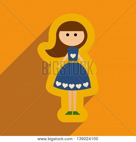 Flat web icon with long shadow girl