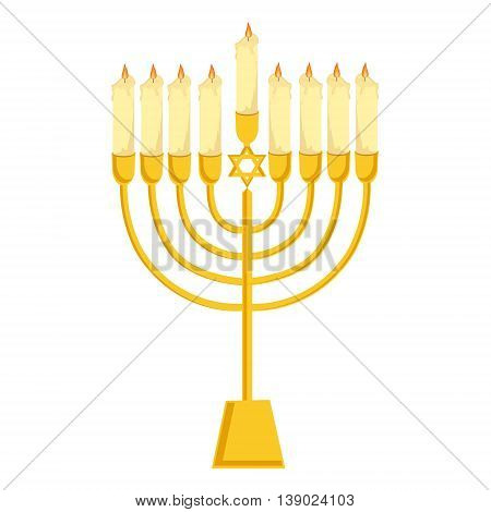 Vector illustration golden menora or menorah with burning candles usually used at Hanukkah celebrations. Menorah with David star jewish symbol