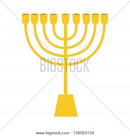 Vector illustration golden menora or menorah usually used at Hanukkah celebrations. Menorah jewish symbol