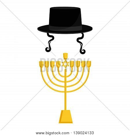 Vector illustration golden menora or menorah usually used at Hanukkah celebrations. Menorah with David star jewish symbol. Black cylinder hat. Orthodox jewish hat with sideburns. Judaism symbols