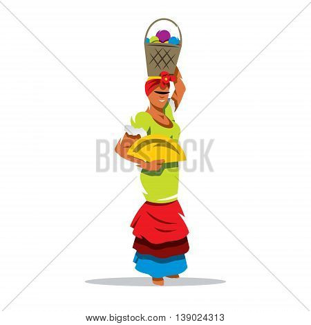 Attractive woman in traditional Cuban clothing posing. Isolated on a White Background