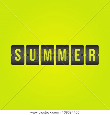 Summer Scoreboard yellow green and black flip symbol isolated on background