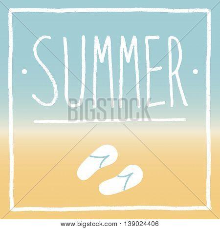 Summer holiday beach hand drawn sketch with flip flops