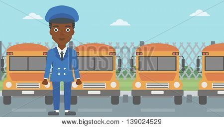An african-american young school bus driver standing in front of yellow bus. Vector flat design illustration. Horizontal  layout.