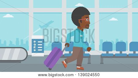 An african-american young man with a suitcase walking at the airport. Vector flat design illustration. Horizontal  layout.