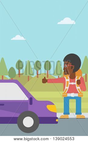 An african-american young man with backpack hitchhiking on roadside. Hitchhiking man with the beard trying to stop a car on the road. Vector flat design illustration. Vertical layout.