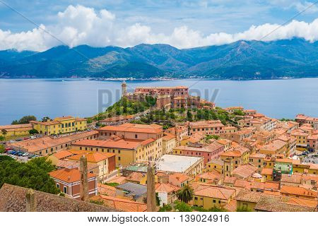 Aerial view over Portoferraio town of Elba island in Italy. It is the largest comune of the province of Livorno