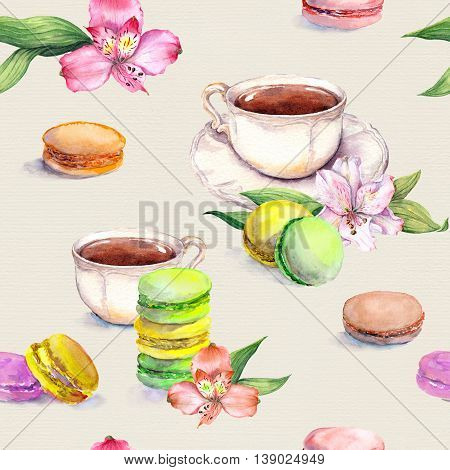 Macaroons cakes, tea cup and flowers. Beautiful tea pattern. Seamless watercolor