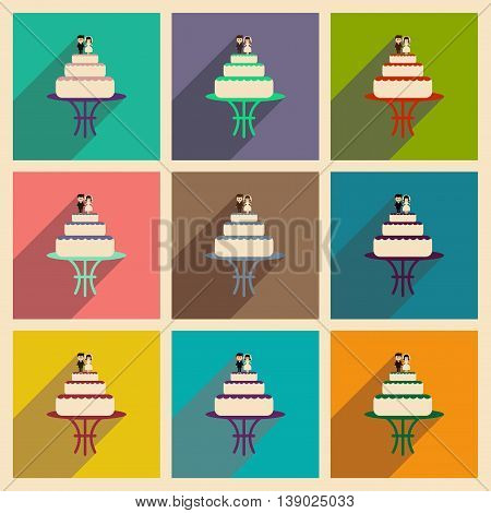 Set of flat web icons with long shadow wedding cake