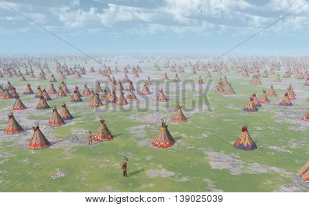 Computer generated 3D illustration with a big Indian Camp