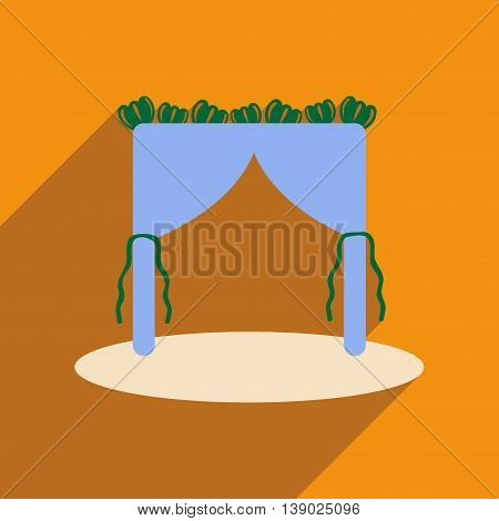 Flat web icon with long shadow wedding arch