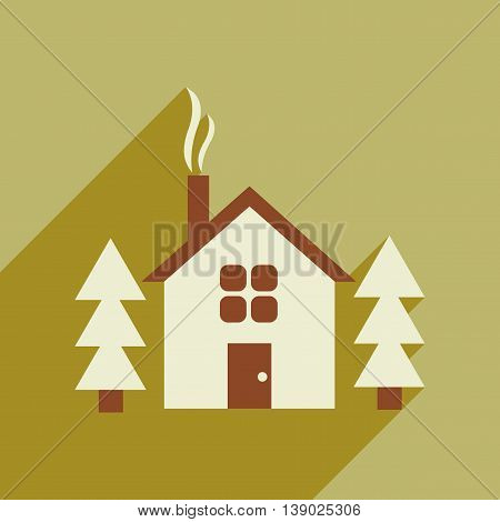 Flat web icon with long shadow house in forest