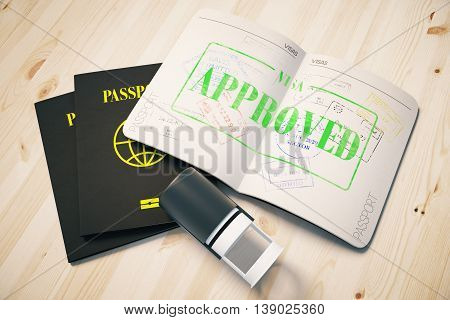 Passport with green approved visa stamp on wooden background. Topview. Travel concept 3D Rendering