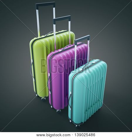Three diffrent sized colorful suitcases on dark background. 3D Rendering