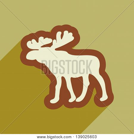 Flat web icon with long shadow Elk