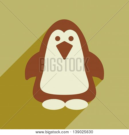 Flat web icon with long shadow penguin