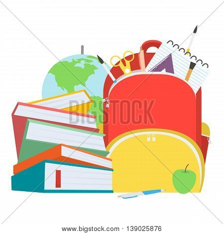School bag with books stack and school supplies. Vector illustration.