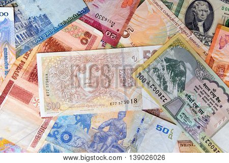Various denomination of foreign exotic currency notes