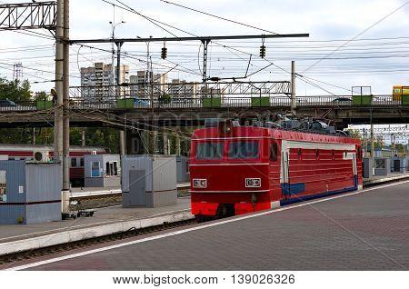 Train locomotive on railway station. Volgograd Russian Federation