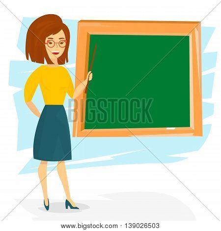 School teacher young cheerful woman. School teacher teaching with a pointer. Vector Illustration