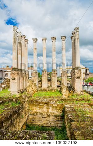 Ancient historical roman ruins monument in a day time in Andalusia city, Cordoba - Spain