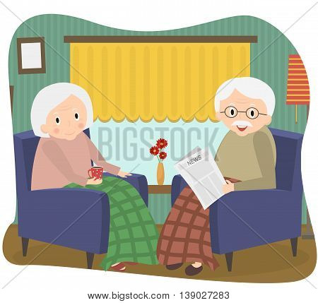 Happy old couple together. Seniors couple sits in a chair at home. Vector Illustration.