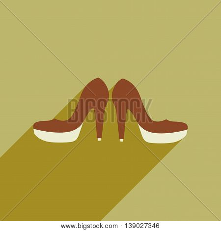 Flat web icon with long shadow women's shoes