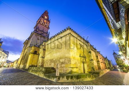 Wide view over the ancient mosque architecture of Cordoba - Andalusia illuminated at night Spain