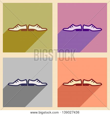 Set of flat web icons with long shadow male shoes