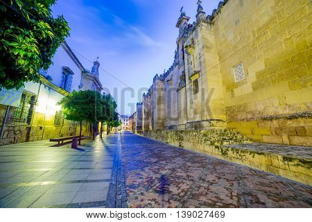 Wide view on a street passing near the mosque walls in Cordoba at twilight - Andalusia, Spain