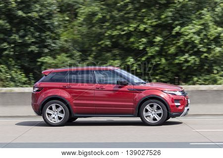 FRANKFURT GERMANY - JULY 12 2016: Range Rover Evoque on the highway in Germany