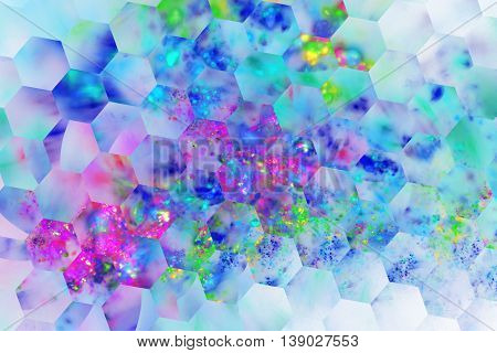 Abstract transparent shapes on white background. Fantasy hexagonal fractal texture in neon blue purple pink and green colors. 3D rendering.