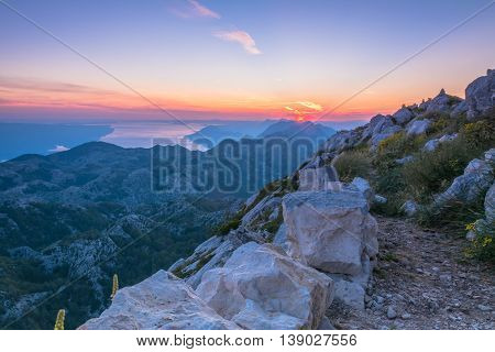 sunset over mountain biokovo. peak sv. jure. Dalmatia, Croatia