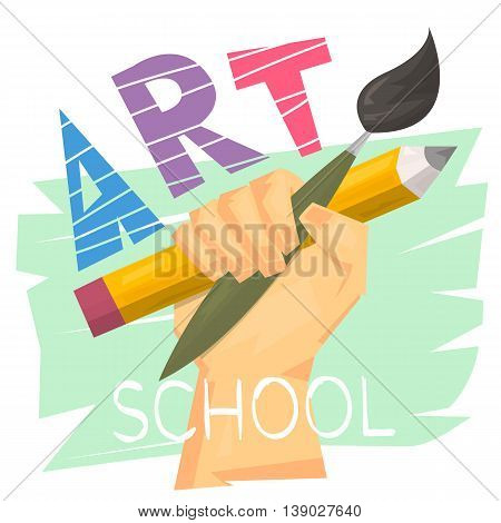 Art school concept. Hand holding big pencil and brush. Ready logo or banner for art lesson. Modern art. Vector illustration.