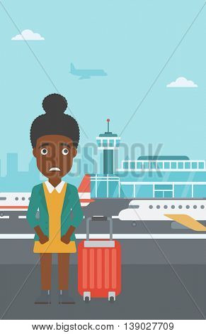 An african-american woman frightened by future flight. Woman standing at airport and suffering from fear of flying. Phobia, fear of flying concept. Vector flat design illustration. Vertical layout.