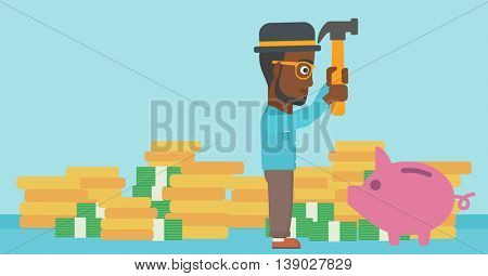 An african-american businessman breaking piggy bank on a blue background with stacks of coins. Concept of business bankruptcy. Vector flat design illustration. Horizontal layout.