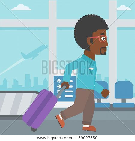 An african-american young man with a suitcase walking at the airport. Vector flat design illustration. Square layout.