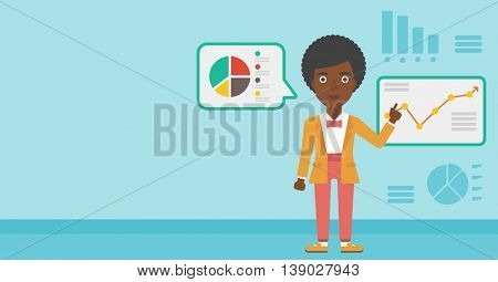 An african-american business woman pointing at charts on a board during business presentation. Woman giving a business presentation. Vector flat design illustration. Horizontal layout.