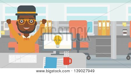 An african-american man with arms up having a business idea. Man working on a computer with a business idea bulb on a screen. Business idea concept. Vector flat design illustration. Horizontal layout.