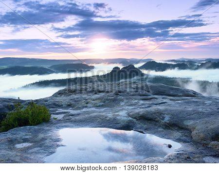 Landscape In Water Mirror. Misty Awakening In Beautiful Mountains Park
