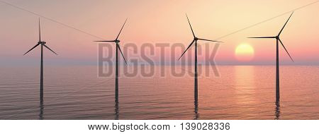 Computer generated 3D illustration with offshore wind turbines at sunset