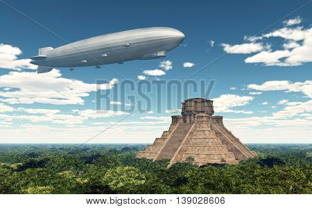 Computer generated 3D illustration with airship and Mayan temple