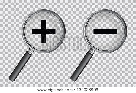 a magnifying glass with a plus and minus symbol