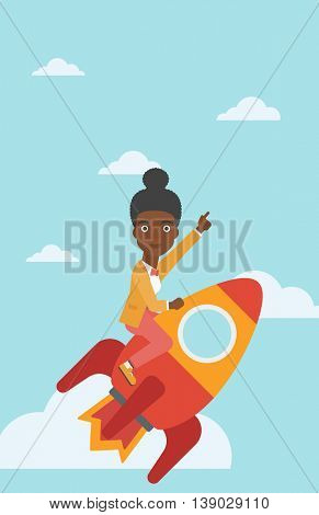 An african-american business woman flying on the business start up rocket and pointing forefinger up. Successful business start up concept. Vector flat design illustration. Vertical layout.
